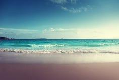 Sunset on Seychelles beach Royalty Free Stock Photo