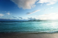 Sunset on Seychelles beach Stock Image