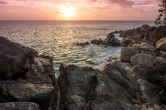 Sunset on Seychelles Stock Photo
