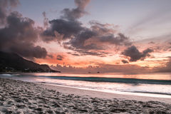 Sunset at Seychelles stock images