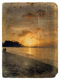 Sunset, Seychelles. Old postcard. Stock Photos