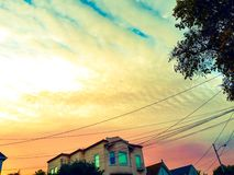 Sunset sf. View of sky from sf Street sunset royalty free stock image