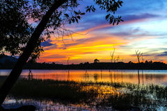 Sunset and shadow tree. On lagoon at Mukdahan national park county of,Thailand Stock Image