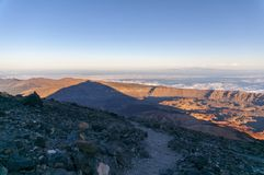 Sunset and shadow of volcano Teide. Tenerife Stock Images