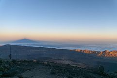 Sunset and shadow of volcano Teide. Tenerife Royalty Free Stock Image