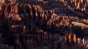 Sunset Shadows over Orange Hoodoos in Bryce Canyon, Utah. Clean, crisp, shadows fall over brilliant orange hoodoos in Bryce Canyon, Utah stock video