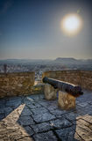 Sunset shadows on Santa Barbara castle in Alicante, Spain. Sunset shadows on Santa Barbara castle in Alicante, summer Spain Royalty Free Stock Image