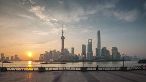 Sunset shanghai city river bay downtown view panorama 4k time lapse china