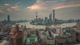 Sunset shanghai cityscape bay roof top panorama 4k time lapse china. China sunset twilight shanghai cityscape famous bay roof top panorama 4k time lapse stock footage