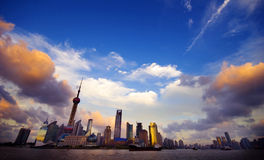 Sunset at Shanghai Skyline with Urban Scene Royalty Free Stock Image