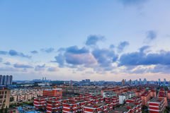 Sunset in shanghai without sun. Azure sky with some clouds in shanghai Royalty Free Stock Photography