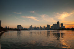 Sunset Sharjah UAE. Evening time, sunset over the skyline of the city of Sharjah, United Arab Emirates. View from Blue Souk over the Lake Khalid Stock Photos