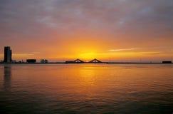 Sunset at Sheikh Isa Bin Salman causeway Bridge, HDR Royalty Free Stock Photography