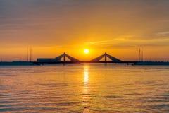 Sunset at Sheikh Isa Bin Salman causeway Bridge, HDR Stock Photography