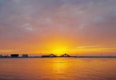 Sunset at Sheikh Isa Bin Salman causeway Bridge, HDR Stock Image