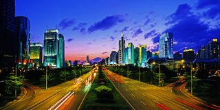 Sunset in shenzhen. Sunset in south road,shenzhen,china Royalty Free Stock Images
