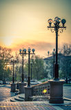 Sunset at Shevchenko st. Stock Image
