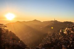Sunset at shimla. View of shimla city while sun is setting down Stock Image
