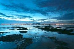 Sunset shingle coast Stock Photography