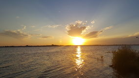 Sunset. Shining across the lake Stock Photography