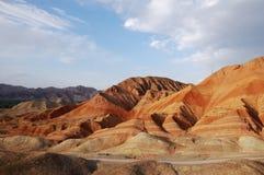 The sunset shining danxia landform. Danxia landform zhang ye gansu province in China stock images