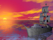 Sunset ship. Rendered ship at sea during sunset Royalty Free Stock Image