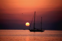 Sunset ship Royalty Free Stock Photos