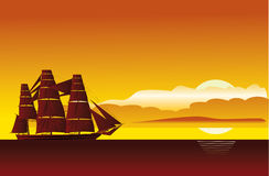 Sunset and  ship Stock Photography