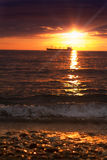 sunset and ship, the defocused image Royalty Free Stock Photography