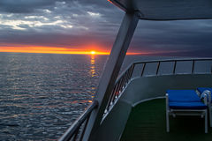 Sunset from a Ship in Galapagos Stock Image