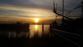 Sunset. Ship lelystad Stock Photos