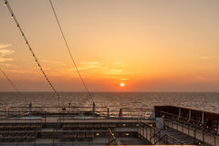 Sunset on the ship. Stock Photography