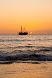 Sunset and ship Royalty Free Stock Images