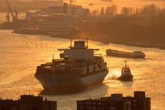 Sunset ship port Rotterdam Stock Image