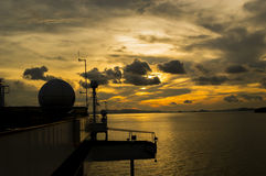Sunset. With ship radar silhoutte Stock Photography