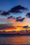 Sunset and the ship Royalty Free Stock Photos