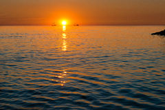 Sunset and ship Royalty Free Stock Image
