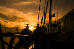 Sunset from the ship. Sunset view from ship at the sea Royalty Free Stock Images