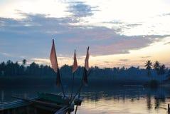Sunset And Shipwrecks At Riverside royalty free stock photos