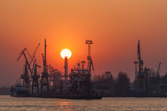 Sunset at the shipyard Royalty Free Stock Image