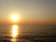 The Sunset : Shadow in the Sea Stock Image