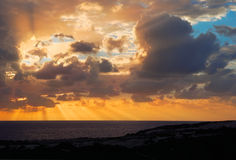 Sunset from the shore of Gozo island, Malta Royalty Free Stock Images