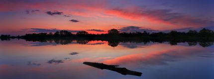 Sunset on the shore of a lake. Panorama of the sunset on the lake Royalty Free Stock Image