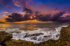 North Shore Hawaii Sunset. Sunset on the shores of the Pacific Ocean on Oahu`s North Shore in Hawaii stock photo
