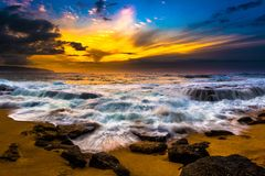North Shore Hawaii Sunset. Sunset on the shores of the Pacific Ocean on Oahu`s North Shore in Hawaii royalty free stock photography