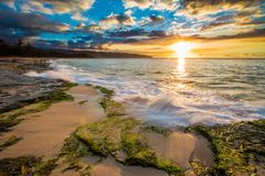 North Shore Hawaii Sunset. Sunset on the shores of the Pacific Ocean on Oahu`s North Shore in Hawaii stock images