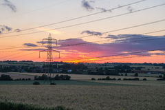 Sunset shot of electricity pylon Royalty Free Stock Photography