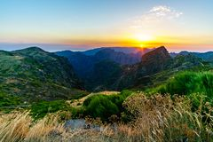 Sunset shot from the top of Pico do Arieiro Madeira island in Portugal showing stock images