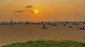 Sunset shoted from Alappuzha Beach royalty free stock images