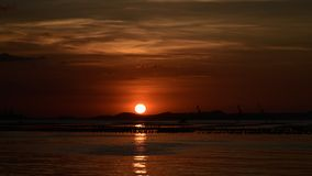 Sunset at Si Chang island, 4K Time lapse of sea and sunset sky stock video footage